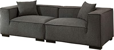 Benjara Fabric Upholstered Wooden Sofa with Large Padded Track Arms, Gray