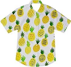 AIDEAONE Niños Camisa con Estampado de Dinosaurio Camisas de Manga Corta con Botones 2-14 Años