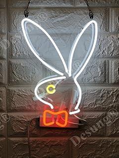 "Desung Brand New 14"" Bunny Rabbit Gift Lamp Decorated Acrylic Panel Handmade Custom Design Neon Sign Light WD35"