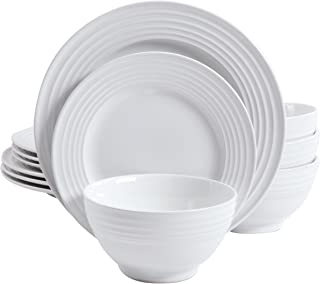 Gibson Home 102274.12RM Plaza Cafe 12 pc Round Dinnerware Set with Embossed Stoneware, White, 1
