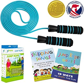 Adjustable Jump Rope - for Kids and Adults - Long Lasting Rope with Anti-Slip Handles and Smooth Rotation - Plus Games Book and Skipping Songbook