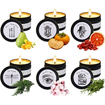 Candles, Scented Candle for Home Scented Rich Aromatherapy Candles for Women Stress Relief, Portable Soy Candles for Travel Jar Candles for Birthday Gift Idea for Girl Women( 6 Pack )