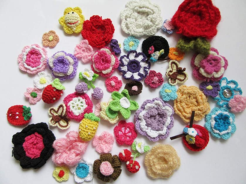 YYCRAFT 50pcs Crochet Flower/Bow/Butterfly Applique for Baby Girls Headband Bows Craft and Clothes Hats Sewing Embellishment(Assorted Size and Colors)