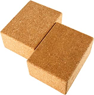 Yaegoo Yoga Blocks, Set of 2, 3 Inchx6 Inchx4.5 Inch- Natural Cork Brick Provides Stability Balance & Support, Improve Strength and Deepen Poses - Great for Yoga, Pilates, Workout, Fitness & Gym
