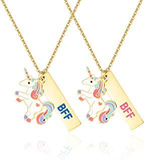 Tarsus BFF Friendship Necklace Unicorn Jewelry Birthday Party Gifts for Little Girls Bestfriends Sister Daughters 2PCS