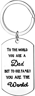 Dad Gifts To The World You Are A Dad But To Our Family You Are The World Keychain Jewelry Appreciation Gifts