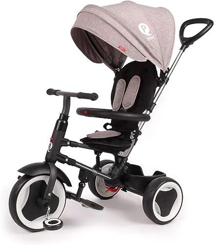 QPlay Kinder-Dreirad Rito Deluxe Grau UV-Dach, Freilauf, Lenkstange, klappbar