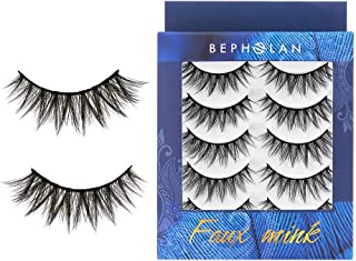 BEPHOLAN 5 Pairs False Eyelashes Synthetic Fiber Material | Natural Flare Look | Cruelty-Free and Handmade | Easy to Apply | 3D Faux Mink Lashes | XMZ115