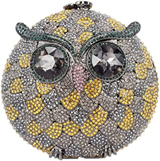 Womens Purse-Clutches Diamante Crystals Chain Evening-Bags Ladies Luxury Sparkle Bridal Prom Owl