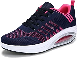 Solshine Damen Fashion Plateau Schnürer Sneakers mit Keilabsatz Walkmaxx Schuhe Fitnessschuhe