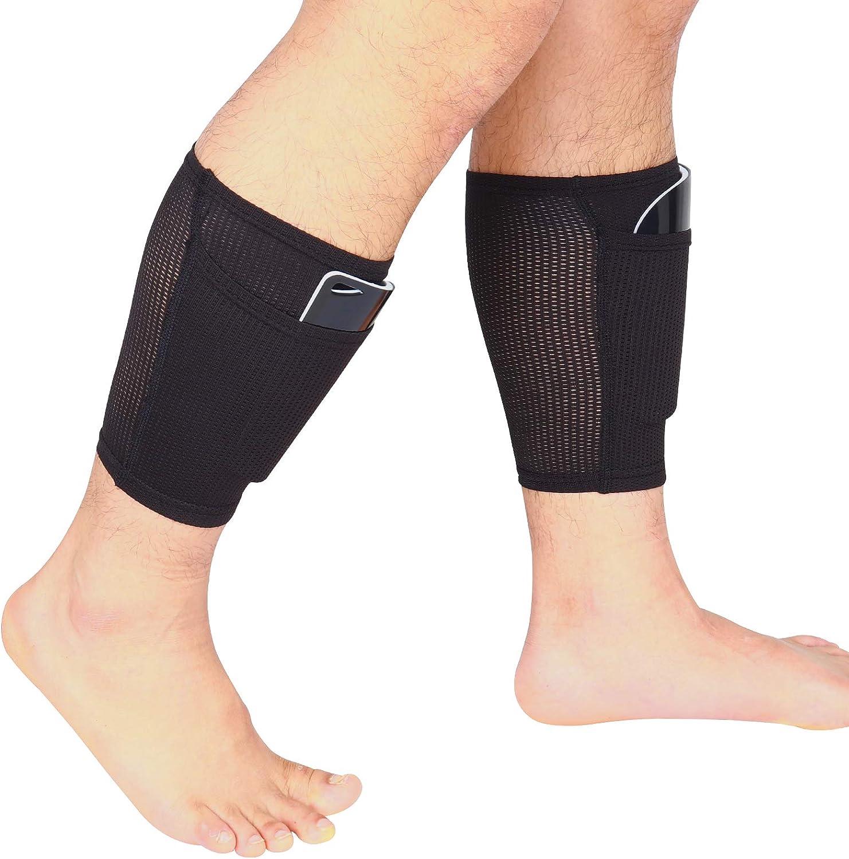 Shin Pads Holder Football - Calcetines de fútbol con bolsillos, transpirables, suaves, color negro