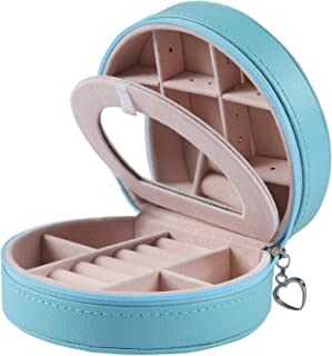 Equuleus Travel Jewelry Box for Women (Fountain Blue) Portable Jewelry, Earring Holder and Ring Storage Case with Compartment Organizer