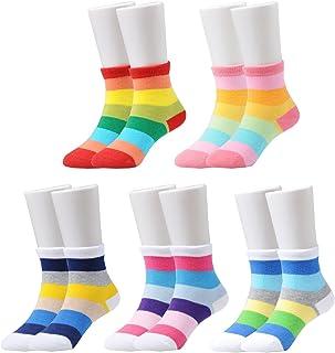 Epeius Kids Girls' 5 Pack Seamless Rainbow Stripes Crew Socks