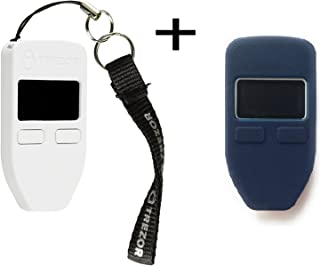 Trezorハードウェア財布(ホワイト) +ボーナスprotectingcoinケース/スキンブルー