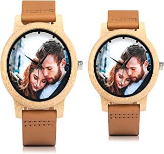 A09 A10 Creative Personality Lovers Watch UV Printing Photos Customers Bamboo Watches for Men Women