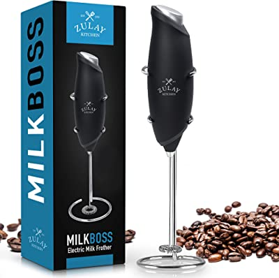 Zulay One Touch Milk Frother Handheld Foam Maker for Lattes - Whisk Drink Mixer for Bulletproof® Coffee Frother, Mini Blender and Milk Foamer Frother for Cappuccino, Frappe, Matcha (Black)