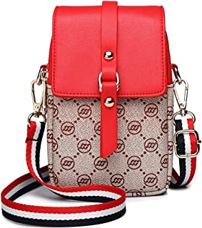 Women Small Crossbody Bag Leather Cell phone Purse Wallet Multi Zip Pocket Adjustable Strap