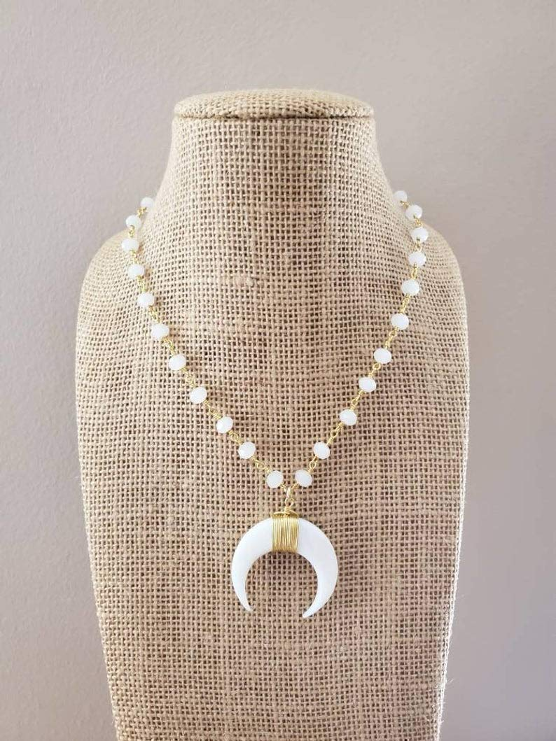Ranking TOP19 White Gold Crescent Horn Pendant Necklace Choker Beads Rosary Attention brand Ch