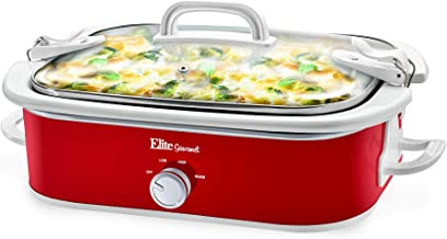 Elite Gourmet MST-5240 Casserole Slow Cooker, Locking Lid, Adjustable Temp, Keep Warm Dishwasher-Safe Glass Lid & Casserole Dish, 3.5QtCapacity, 3.5Qt Capacity, Red