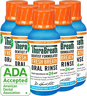 TheraBreath Fresh Breath Oral Rinse, Icy Mint, 3 oz Bottle (Pack of 6)