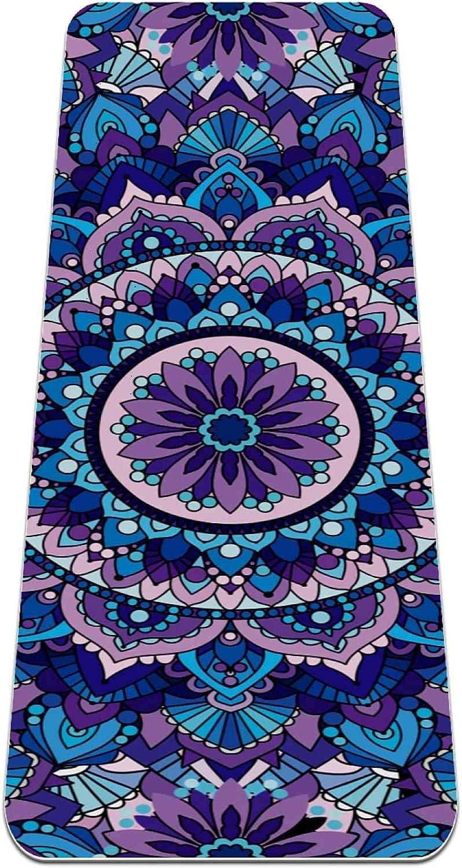 FAAXDIQ Yoga Mat Vintage Mandala Boho Thick Non Slip Exercise Wo