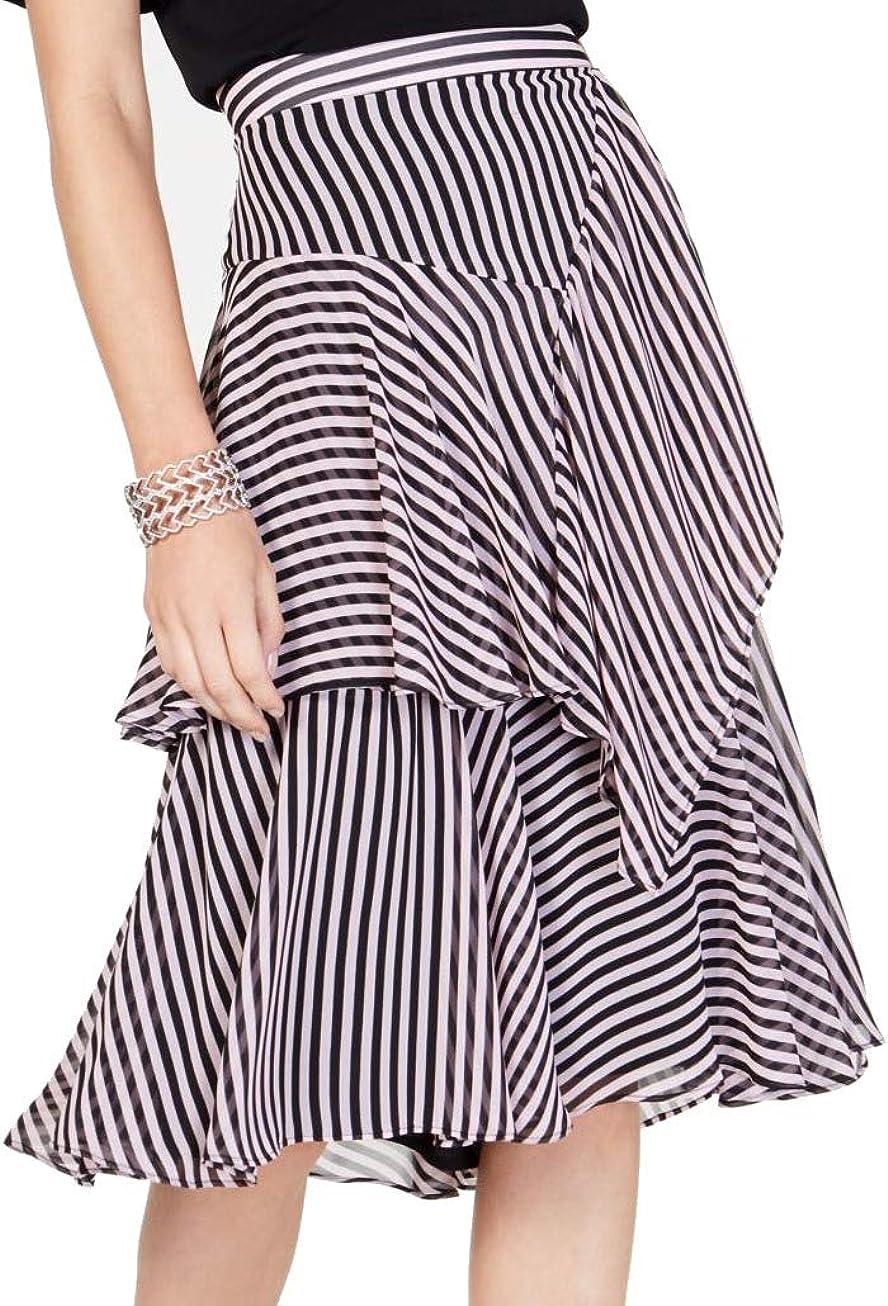 INC Womens Pink Striped Midi Layered Skirt Size 8