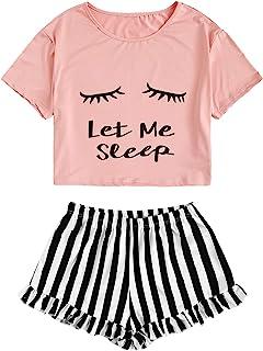 Women's Sleepwear Closed Eyes Print Tee and Shorts Cute...