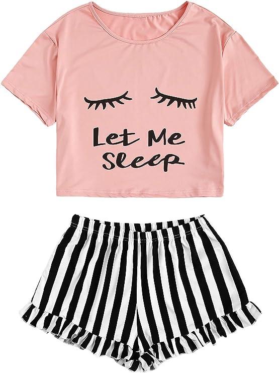 WDIRARA Women's Sleepwear Closed Eyes Print Tee and Shorts Cute Pajama Set