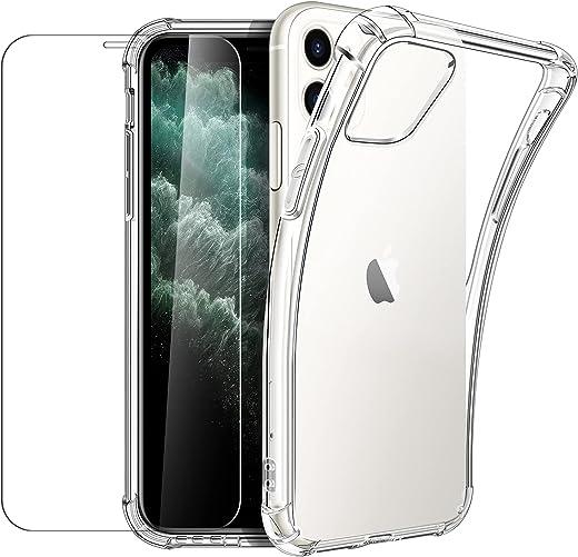 New&Teck Coque Compactible avec iPhone 11 (6.1) + [Verre Trempé Protection écran], Housse Etui en Transparent Silicone TPU Souple [Bumper avec...