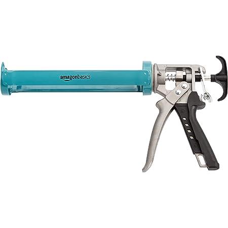 Amazon Basics Pistolet à calfeutrer robuste pour mastic - 310ml - Rapport de poussée 12:1, manche en aluminium avec support antidérapant en plastique