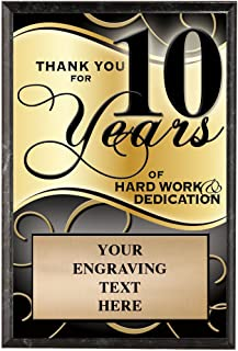 Crown Awards Corporate Plaques - 5 x 7 Thank You for 10 Years Recognition Trophy Plaque Award Prime