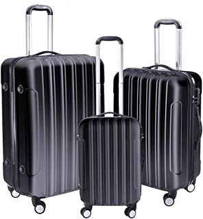 Yescom 3 Piece Luggage Set Rolling Travel Case 4 Wheels Spinner Suitcase Lightweight Hard Shell Suitcase Set