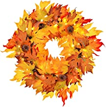 """MorTime Thanksgiving Wreath with LED Lights Pumpkin Berries Maple Leaves, 17"""" Harvest Day Themed Hanging Silk Fall Door Wr..."""