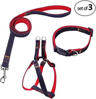 Bark Lover Dog Harness Leash and Collar Matching Sets for Small Puppy Medium Large Dogs Pets, Heavy Duty Nylon with Denim Design, Perfect Accessories for Walking Training Your Dog