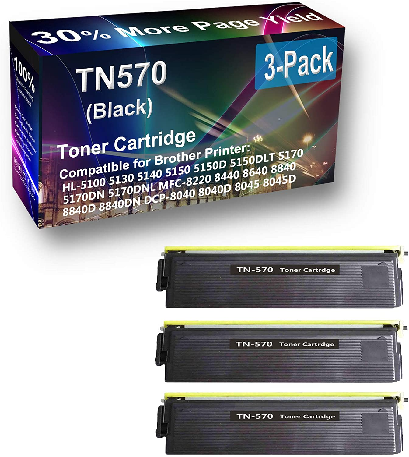 3-Pack Compatible High Capacity TN570 Toner Cartridge use for Brother DCP-8040 DCP-8040D DCP-8045 DCP-8045D HL-5100 HL-5130 (Black)