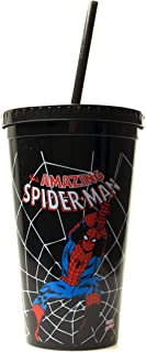 Marvel MC32087 Spider-Man Swings Plastic Cold Cup with Lid and Straw, 16-Ounces, Black