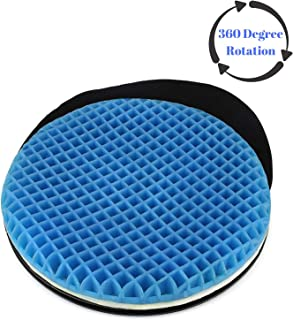 FOMI Premium Firm Swivel Gel Seat Cushion | 360 Degree Rotation | Round Thick Disc Pad for Home or Office Chair, Wheelchair, Boat, Stool | Pressure Sore Relief, Prevents Sweaty Bottom