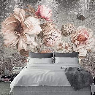 Zbybbby Waterproof Silk Cloth Wallpaper Custom Mural Wallpaper European Style Vintage Oil Painting Flower Floral Fresco Living Room Bedroom Wall Decor Photo Wall paper-200cmx140cm
