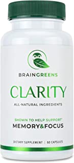 BrainGreens Brain Supplement for Memory and Focus - Nootropic Booster for Mental Clarity - All Natural Ingredients - Gingko Biloba, Bacopa Monnieri, Lion's Mane, Ashwagandha, Rhodiola Rosea,L-theanine