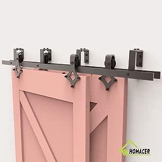 Homacer Sliding Barn Door Hardware Bypass Double Door Kit, 10FT Flat Track U-Shape Bracket Diamond Design Roller, Black Rustic Heavy Duty Interior Exterior Use