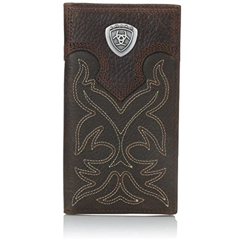 Ariat Mens Western Rodeo Wallet Embossed Full Grain Leather Brown