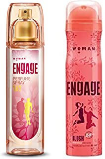 Engage W1 Perfume Spray For Women, 120ml And Engage Blush Bodylicious Deo Spray For Women, 150ml/100g Weight may vary