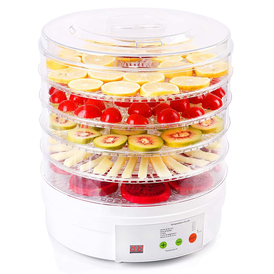 Tlanpu BPA-Free Food Dehydrator, Home Full Touch Digital Dehydrator,5 Trays Food Preserver with Adjustable Temperature and Timer, Suitable for Meat or Beef Jerky, Fruits and Vegetables, Etc.