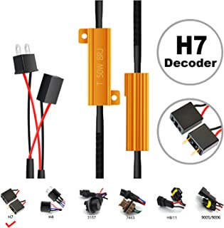 HOCOLO H7 Headlight Low Beam Fog Light Bulbs LED Resistor Kit Relay Harness Adapter Anti Flicker Error Decoder Warning Canceller (2pcs H7-Resistor Decoder)