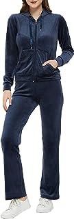 Woolicity Survêtement Femme Ensembles 2 Pièce Sportswear Sweat Zippé à Capuche Pantalon Jogging Suit en Velours Sport Pyja...