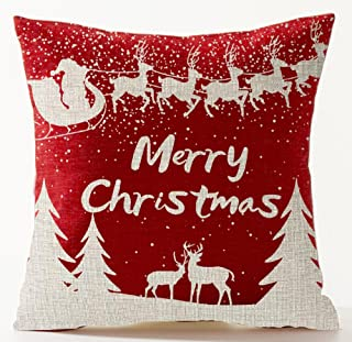 Happy Holidays Beige Snowflakes Reindeer Sledding Santa Claus Pine Forest Warm Sayings Merry Christmas Holiday Gift In Red...