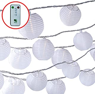 White Lanterns String Lights - 24 Indoor Outdoor Mini Nylon LED String Lights Extra Long 16ft With Remote Control - Extendable - Connect up to 3 Sets - Bonus Hanging Hooks