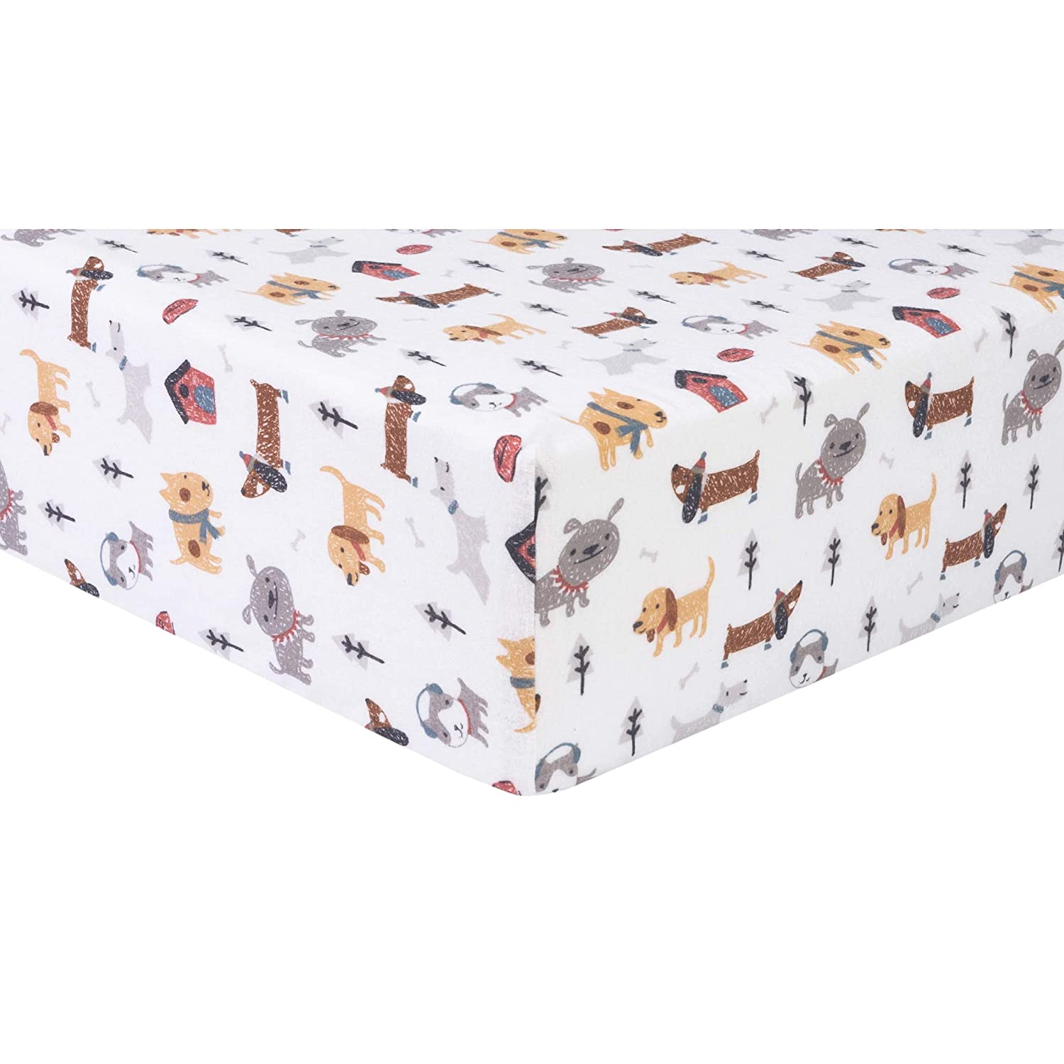 Trend Lab Dog Park Flannel Fitted Crib Sheet (103763)