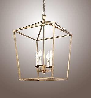 H25 X W17 Gold Cage Large Lantern Iron Art Design Candle-Style Chandelier Pendant, Ceiling Light Fixture