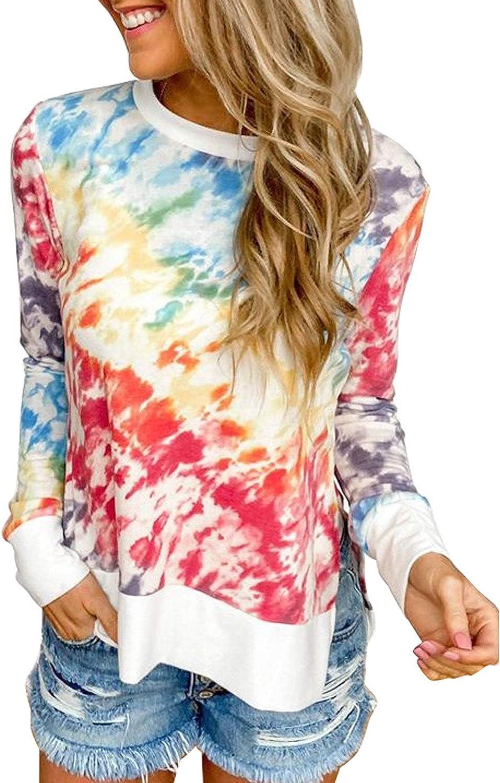 Diukia Womens Fashion Tie Dye Print Pullover Sweatshirt Casual Round Neck Long Sleeve Pullover Tops Shirt S-2XL
